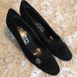 Ferragamo Black Suede Classic Horsebit Heel